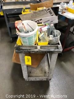 Metal Cart, Assorted Nails, Staples And Screws