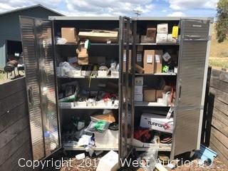 (2) Rolling Metal Cabinets With Various Mower Parts And Supplies