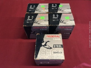 "(5) Federal 10 x 3-1/2"" 2 Shot Boxes"
