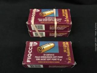 (3) Fiocchi 30 Luger 7.65 Parabellum Boxes