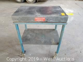 "36"" x 24"" Granite Surface Plate On Rolling Steel Table"