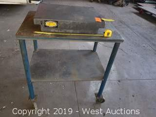 """24"""" x 18"""" Granite Surface Plate On Rolling Steel Table"""