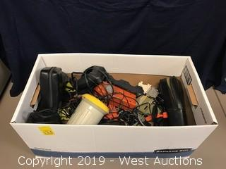Box Of Survey Equipment And Accessories; Batteries, Antenna Protectors, And More