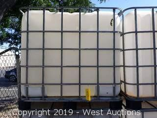 250 Gallon Caged Forkliftable Polly Tank
