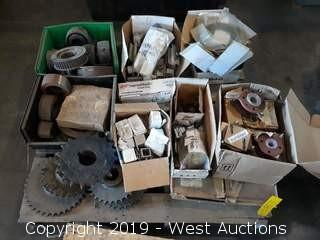 Pallet of Industrial Sprockets, Bearings, Belt Drives, and More