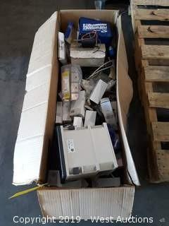 Box Of A/C Fittings, Motors, Foxboro 872 Monitor And More