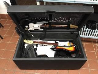 Rockband Storage Ottoman With (2) Guitars, (1) Keyboard, (1) Drum set