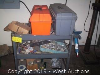 Rolling Steel Shop Cart and Contents
