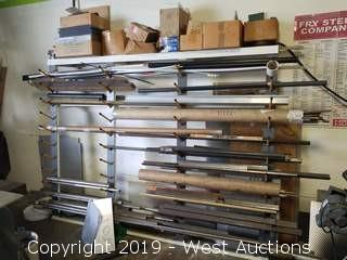 Wood & Steel Frame Rack and Assorted Metal/Plastic Stock