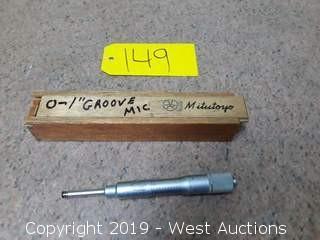 "Mitutoyo146-102 0-1"" Groove Micrometer"