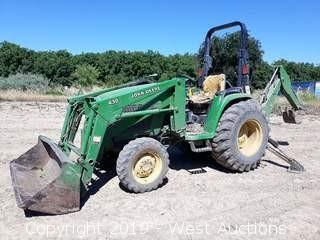 2002 John Deere 4410 4x4 Compact Tractor with Front Loader and Backhoe