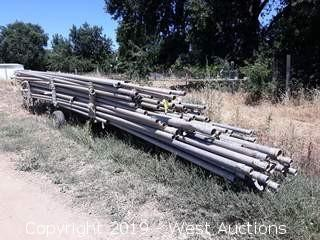 "(110+) 30' 3"" Aluminum  Irrigation Pipe With Pipe Trailer And Sprinkler Fittings"
