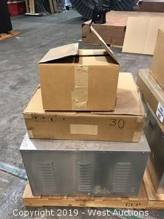 Pallet With Leak Detection Kits, Vertiv AC8 Panel, And Liebert Pump