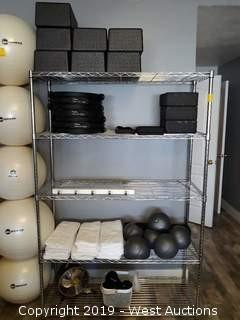 Bulk Lot: Metro Rack With Pilates Ultra-Fit Circles, Foam Blocks, Hand Towels And More