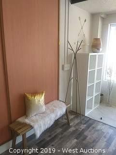 Entrance Furniture: Wood Bench, (2) Storage Units, Coat Rack, and Vases