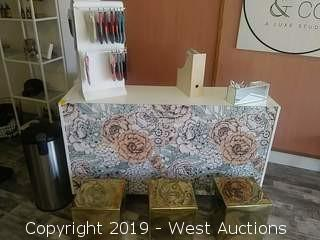 Reception Desk with Cabinet, (3) Golden Cubes, Office Supplies, Gift Items and More