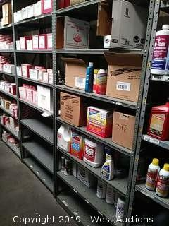 Bulk Lot: Berryman & Lucas Cleaners, Grease, Oils, and Box of Painting Coveralls