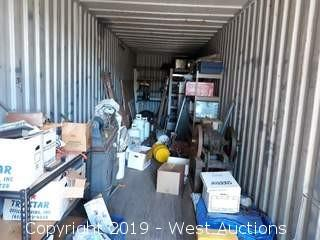 Bulk Lot: Contents of 40' Sea Container; Hand Tools, Racking, Propane Tanks and More