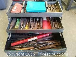Metal Tool Box with Various Drill Bits