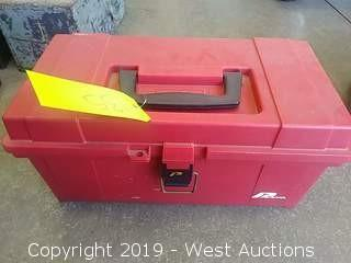 Red Plastic Toolbox with Removable Tray and Contents