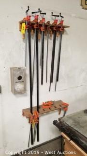 (15) Bar Clamps and (3) C-Clamps with Wall Mounts
