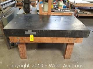5' x 3' Precision Granite Block Slab With Wood Table