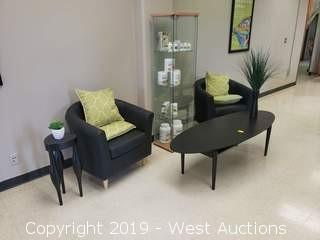 Furniture; 2 Chairs, Tables, Display Case