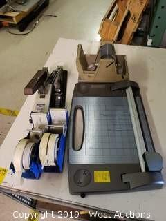 Assorted Office Supplies; Staplers, Tape Rollers, Cutter