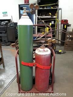 Compressed Oxy/Acetylene Torch Kit With Bottle Cart