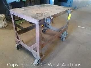 Steel Work Table on Casters