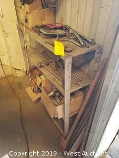 Metal Shelf Rack and Contents; Clamps, Hammer, Tool Belt