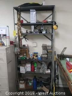 Bulk Lot: 5 Shelf Metal Rack with Snap Rings, Screws, Blades, Wire & More