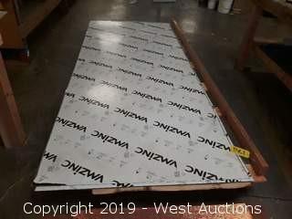 (4) Sheets Of Zinc Sheet Metal And (1) Zinc Plate