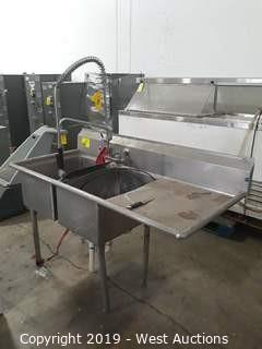 5' 2-Basin Stainless Dishwash Sink