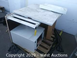 (2) Desks & 2-drawer Cabinet