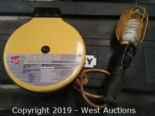 Commercial Electric 94PK 25' Retractable Cord Reel with Metal Work Light