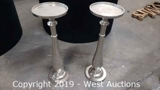 (2) Silver Candle Holders