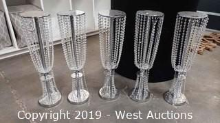 (4) Large Crystal Candle Holders
