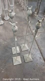 (4) White Vintage Heavy Base Isle Runner Stands