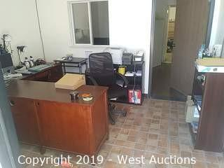 Bulk Lot: Main Office Contents: Desk, Shelves, Paper Shredder, Printer, Label Printers, Chairs, Lamps & More