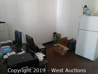 Bulk Lot:  Inner Office Contents Refrigerator, Desk, File Cabinet, Monitors, CPU Towers, Printer & Assorted DVDs & More