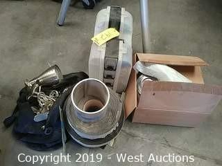 Bulk Lot: Bag of Lamps, Hot Glue Gun, Wire Fitting Kit, Rolls of Padding, Roll of Flashing,