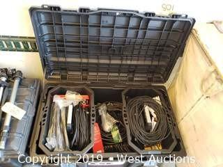 Husky Job Box And Contents; LED Lights And Cables