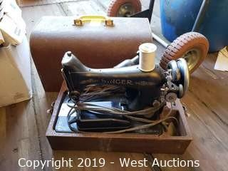 Antique Singer Sewing Machine in Wooden Case