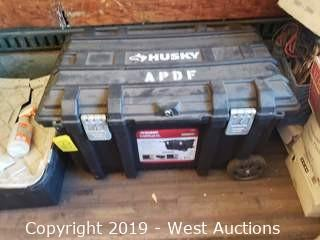 "Husky 37"" Job Box And Contents; Auxiliary Cables"