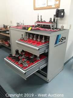 Lista Machinists Cabinet With (42) CNC Tool Holders And Tooling/Mill Bits