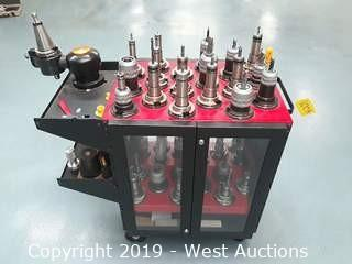 Machinists CNC Tool Holder Cart With (37) Tool Holders And Tooling