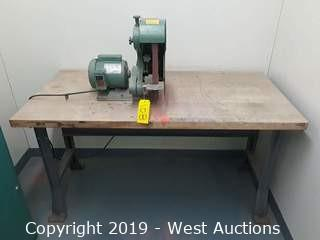 Burr-King 562 1x42 3 Wheel Belt Grinder with Wood Top Work Bench