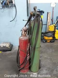 Acetylene Bottle Torch Cart With Hoses And Accessories