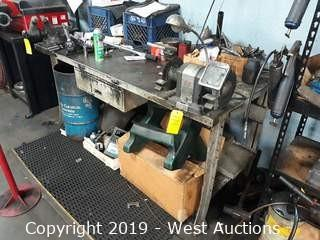 "6'x3' Steel Work Bench With 4"" Shop Vise (No Contents)"